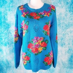 VTG 90s Vibrant Colorful Blue Floral Knit Sweater